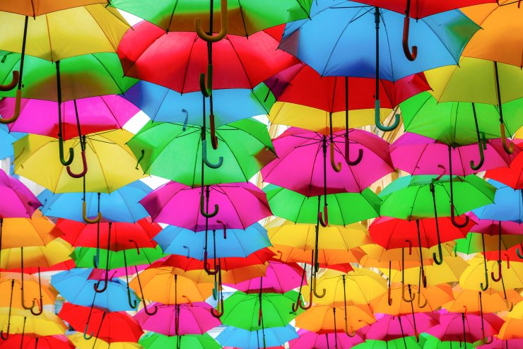 Rainbow brollies